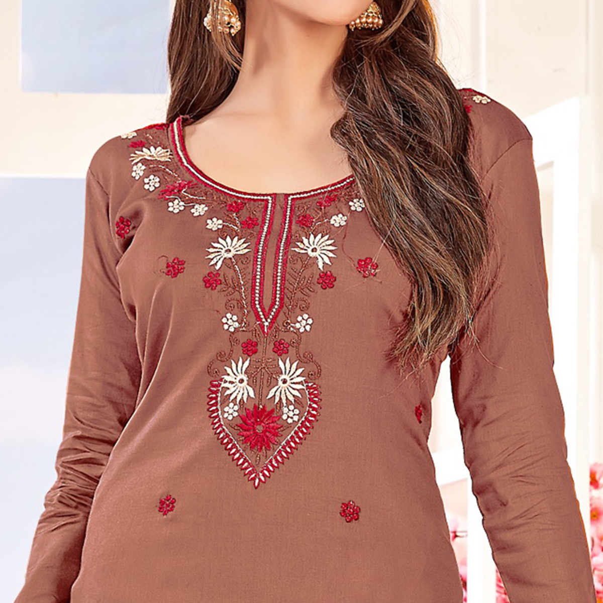 Classy Light Coffee Brown Colored Partywear Embroidered Cotton Dress Material