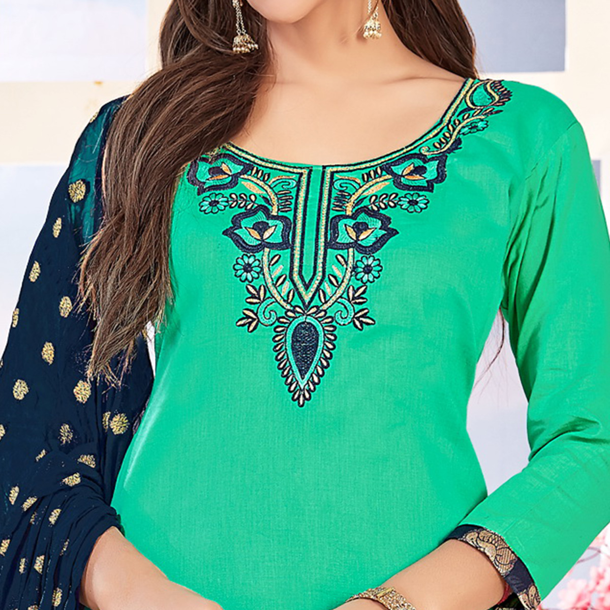 Gleaming Turquoise Green Colored Partywear Embroidered Cotton Dress Material