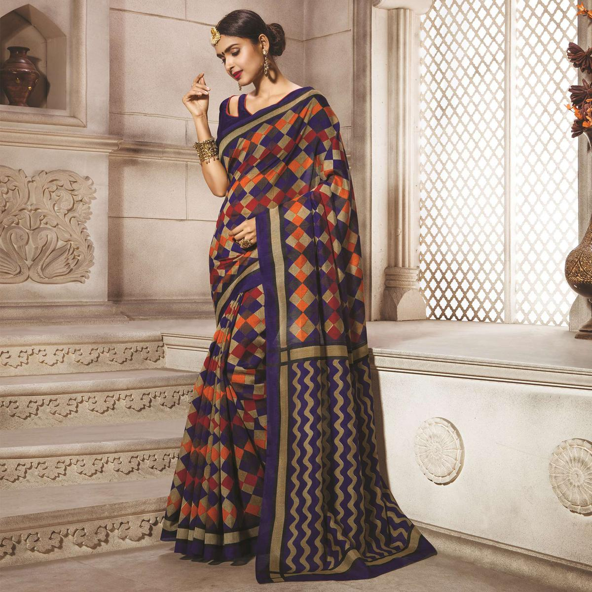 Blue - Tan Geometrical Printed Saree