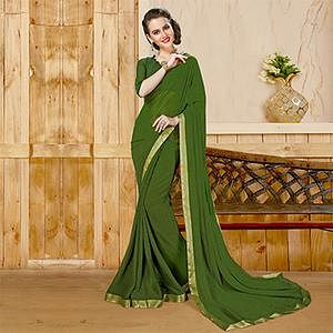 Graceful Olive Green Georgette Printed Saree