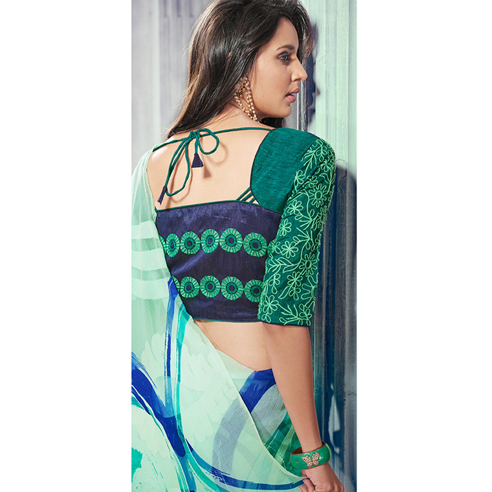 Glorious Green Colored Party Wear Printed Brasso Saree