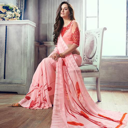 Graceful Pink Colored Party Wear Printed Brasso Saree