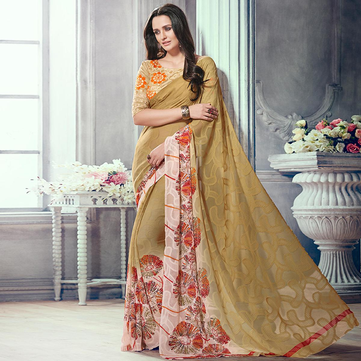 Lovely Dark Beige Colored Party Wear Printed Brasso Saree