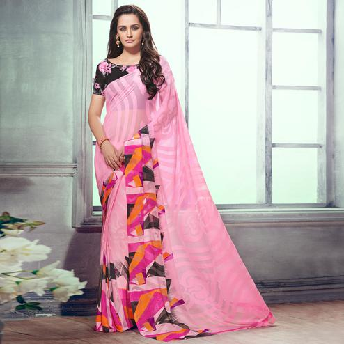 Ravishing Pink Colored Party Wear Printed Brasso Saree