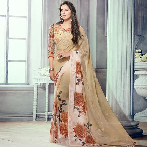 Delightful Beige Colored Party Wear Printed Brasso Saree