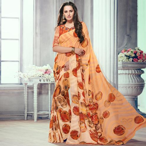 Gorgeous Light Orange Colored Party Wear Printed Brasso Saree