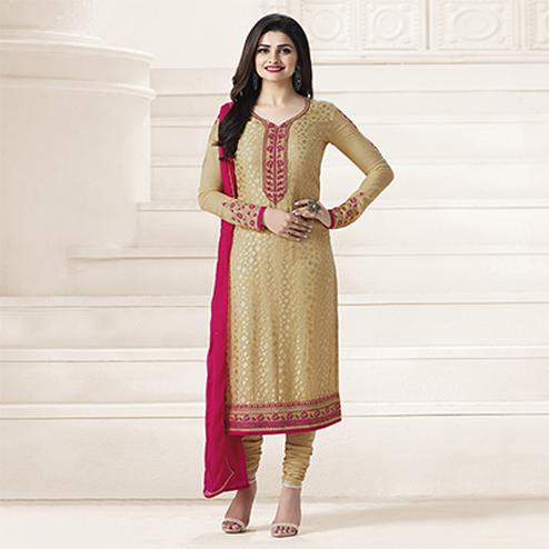 Beige Partywear Straight Cut Suit