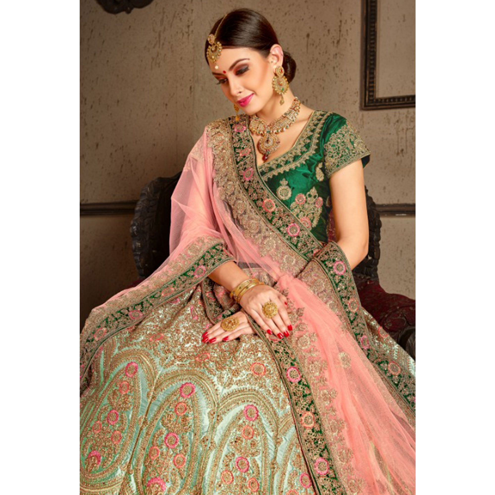 Adorable Green Colored Wedding Wear Embroidered Nylon Satin Lehenga Choli