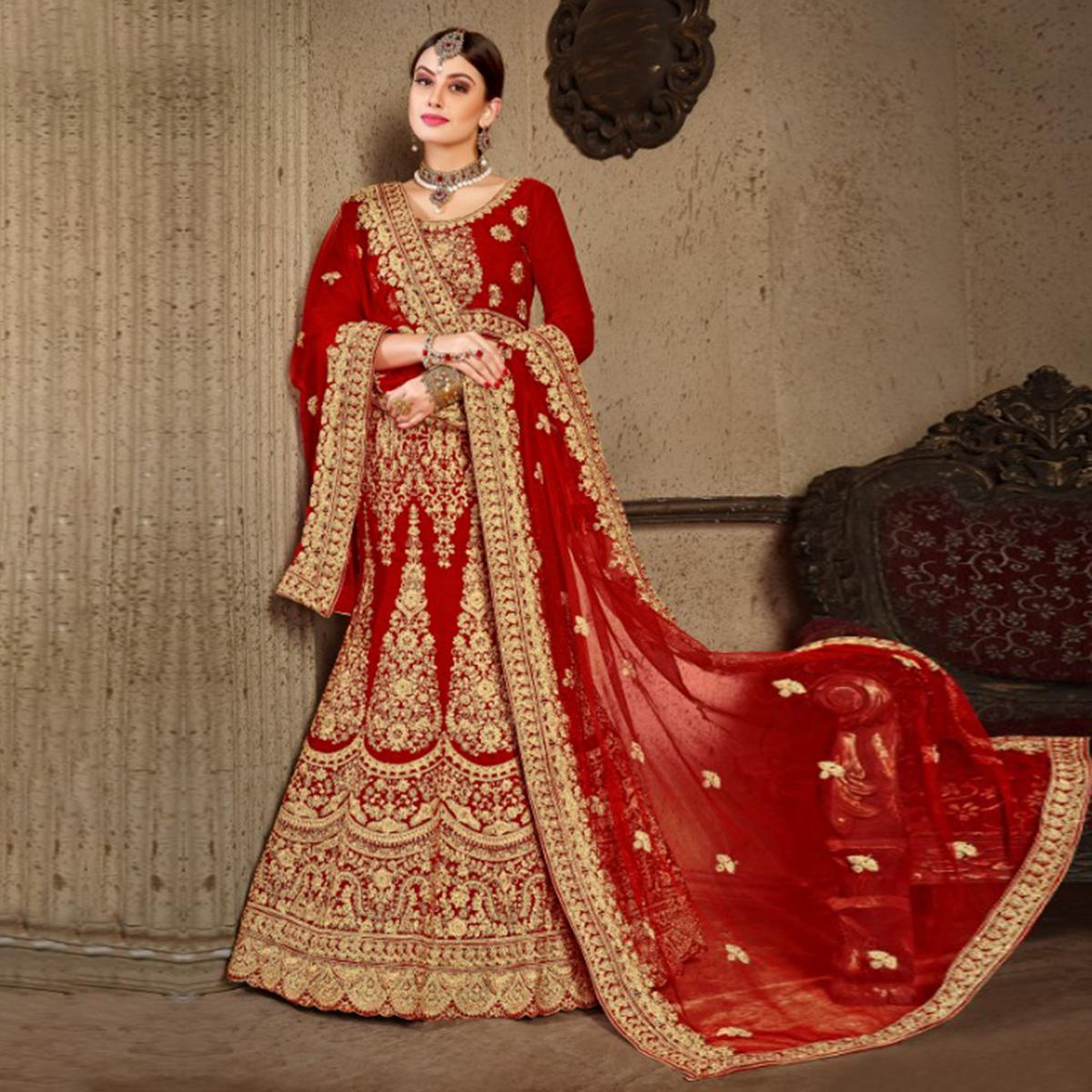 Appealing Red Colored Wedding Wear Embroidered Velvet Lehenga Choli
