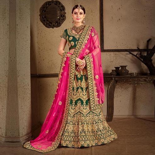 Adorning Green Colored Wedding Wear Embroidered Nylon Satin Lehenga Choli