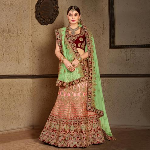 Captivating Peach - Maroon Colored Wedding Wear Embroidered Nylon Satin Lehenga Choli