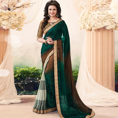 Magical Green Colored Casual Printed Art Silk Half-Half Saree