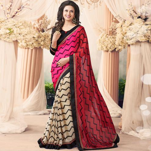 Adorning Pink-Beige Colored Casual Printed Art Silk Half-Half Saree