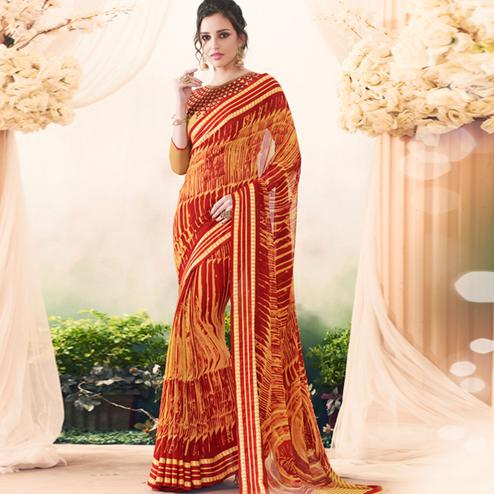 Attractive Red-Yellow Colored Casual Printed Art Silk Saree