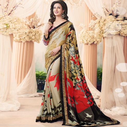 Pleasant Beige Colored Casual Printed Art Silk Half-Half Saree