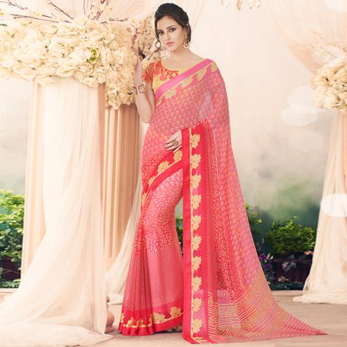 Pretty Light Pink Colored Casual Printed Art Silk Saree