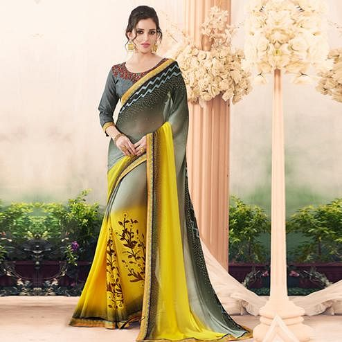 Different Gray-Yellow Colored Partywear Printed Art Silk Saree