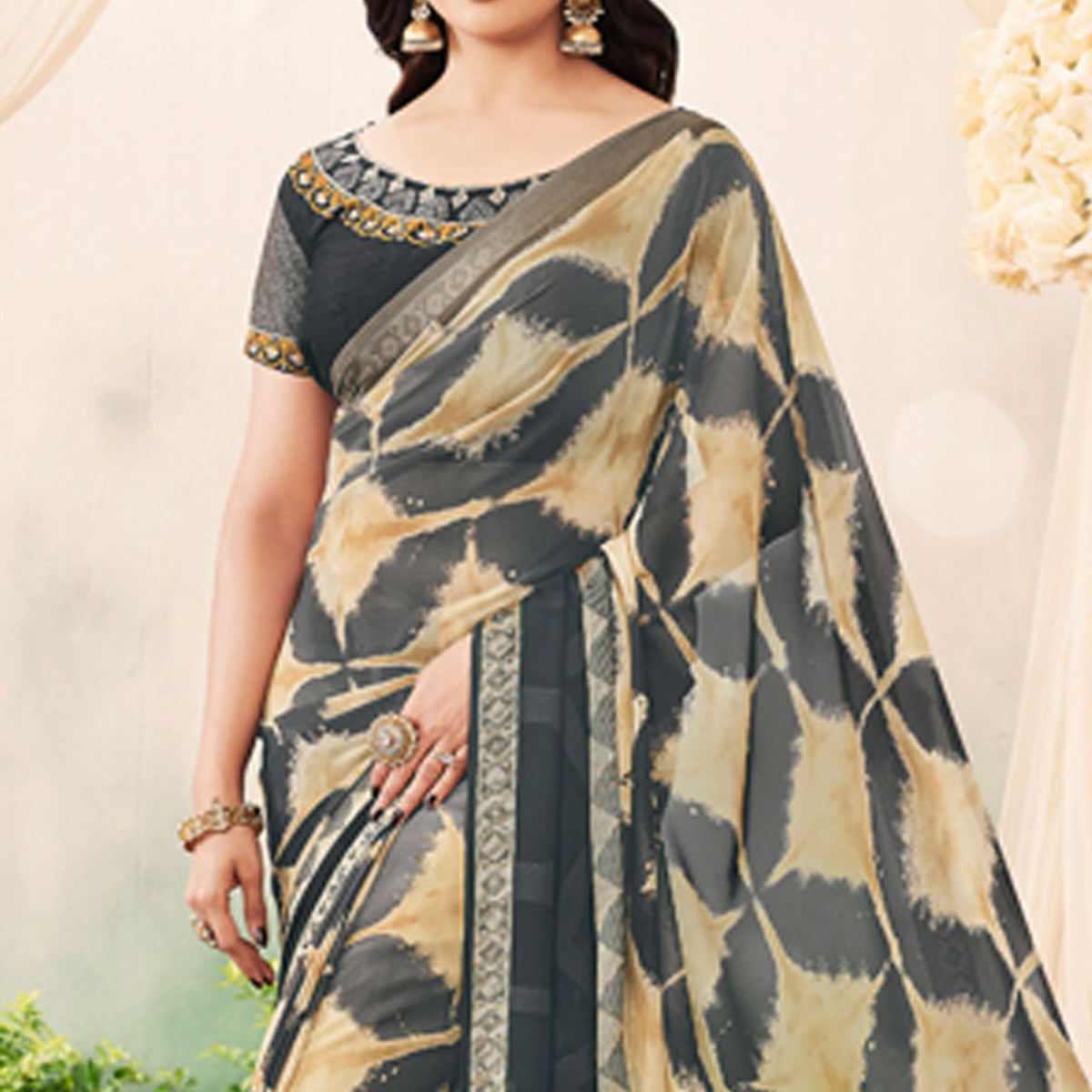 Stylish Gray Colored Partywear Printed Art Silk Saree