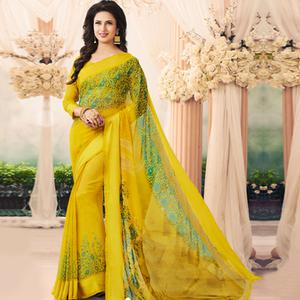 Glowing Yellow Colored Casual Printed Art Silk Saree
