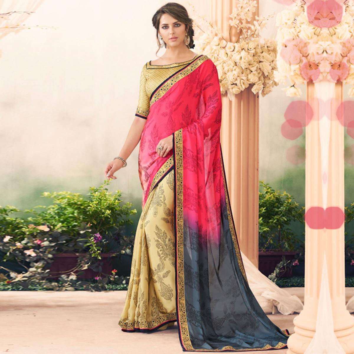 Mesmerising Pink-Beige Colored Casual Printed Art Silk Half-Half Saree