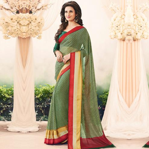 Demanding Green Colored Casual Printed Art Silk Saree