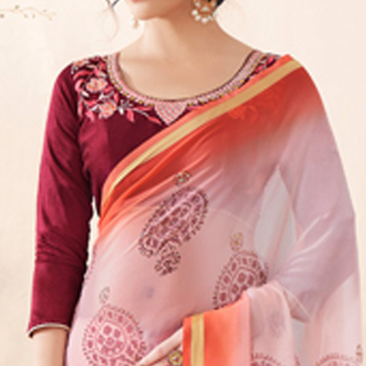 Magnetic Light Pink-Maroon Colored Partywear Printed Art Silk Half-Half Saree