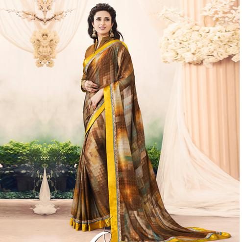 Desirable Multi Colored Casual Printed Art Silk Saree