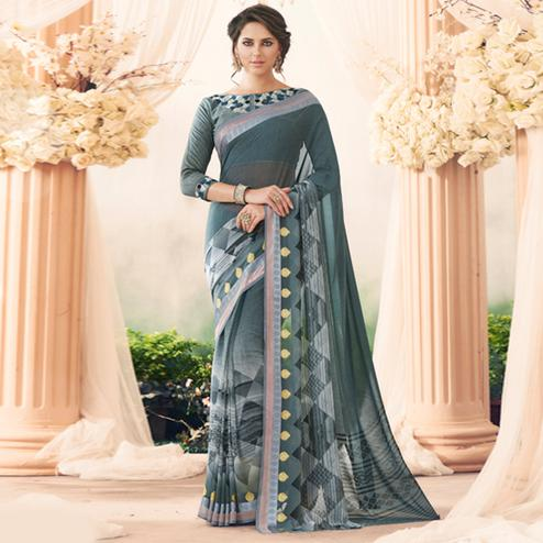 Fantastic Gray Colored Partywear Printed Art Silk Saree