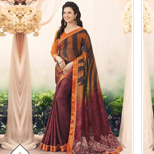 Energetic Maroon-Orange Colored Casual Printed Art Silk Half-Half Saree