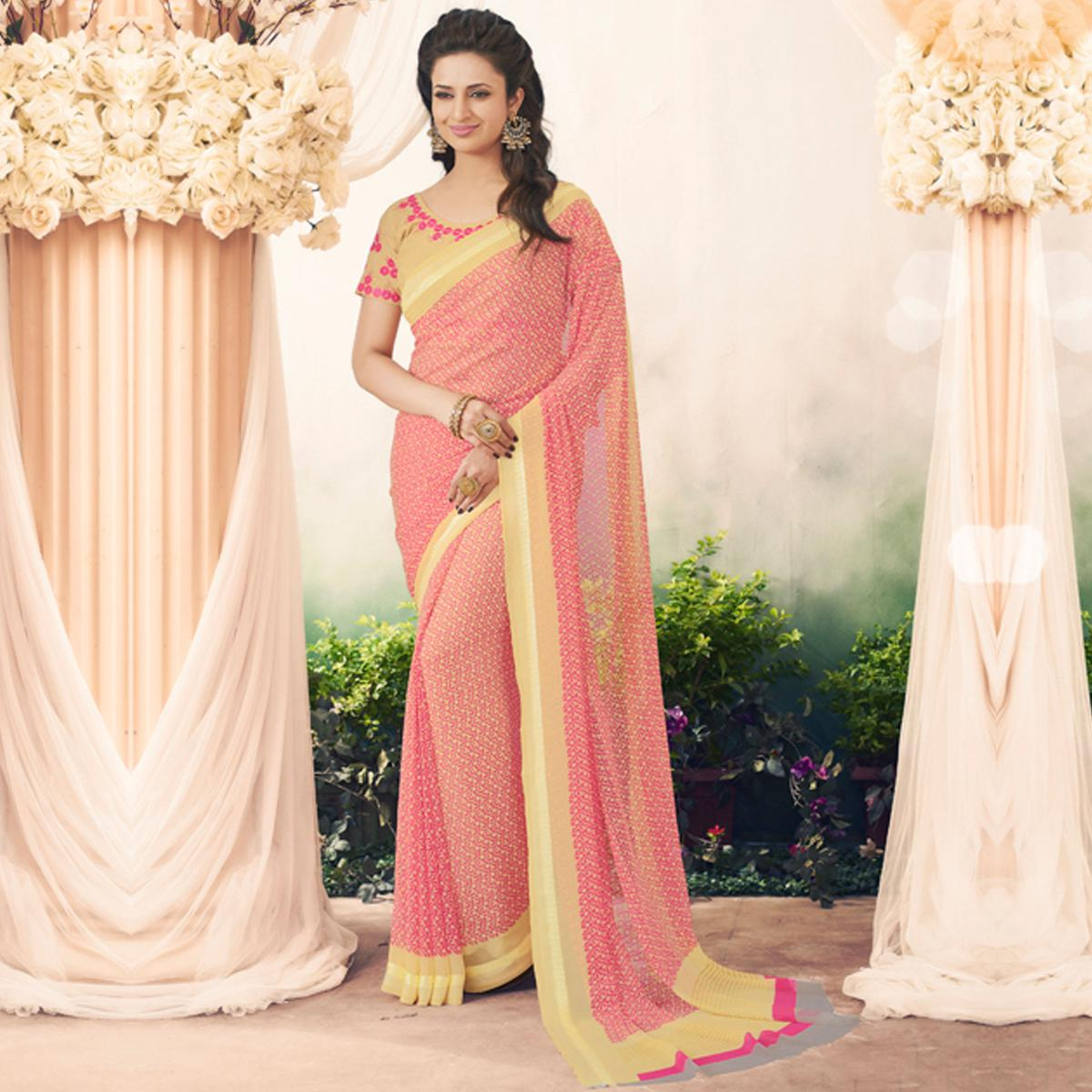 Gorgeous Pink Colored Partywear Printed Art Silk Saree