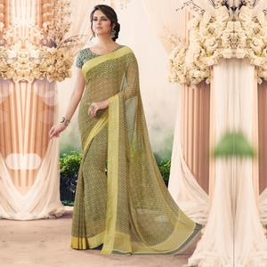 Energetic Green Colored Casual Printed Art Silk Saree