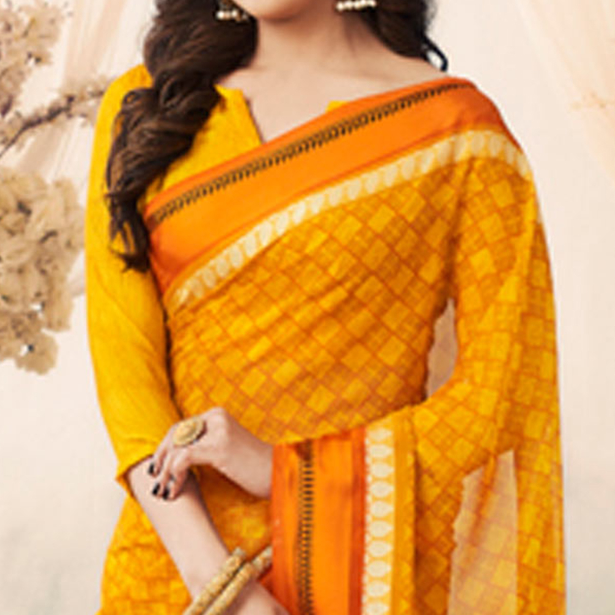 Irresistible Orange Colored Casual Printed Art Silk Saree
