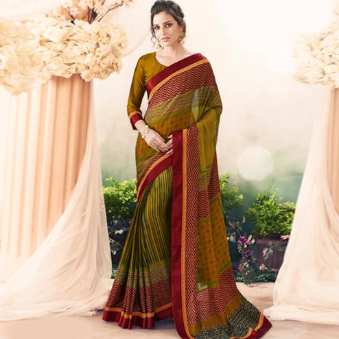 Fab Multi Colored Casual Printed Art Silk Saree