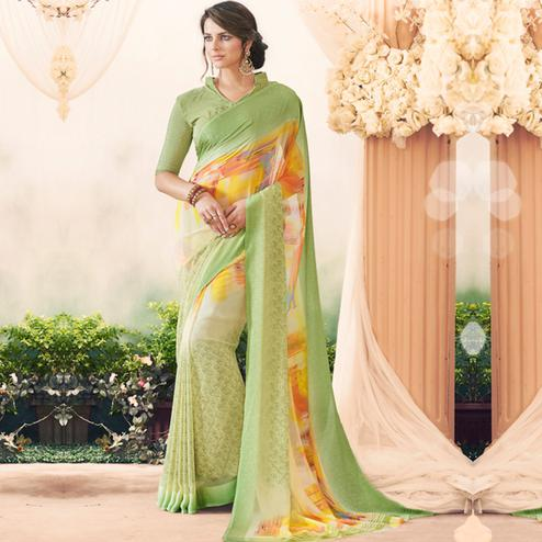 Pleasing Green Colored Casual Printed Art Silk Saree