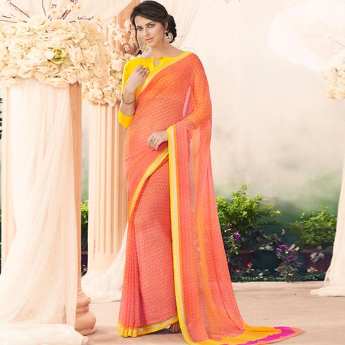 Charming Peach Colored Casual Printed Art Silk Saree