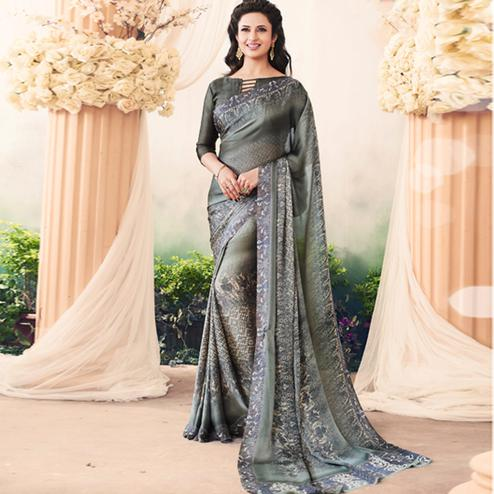 Special Dark Gray Colored Casual Printed Art Silk Saree