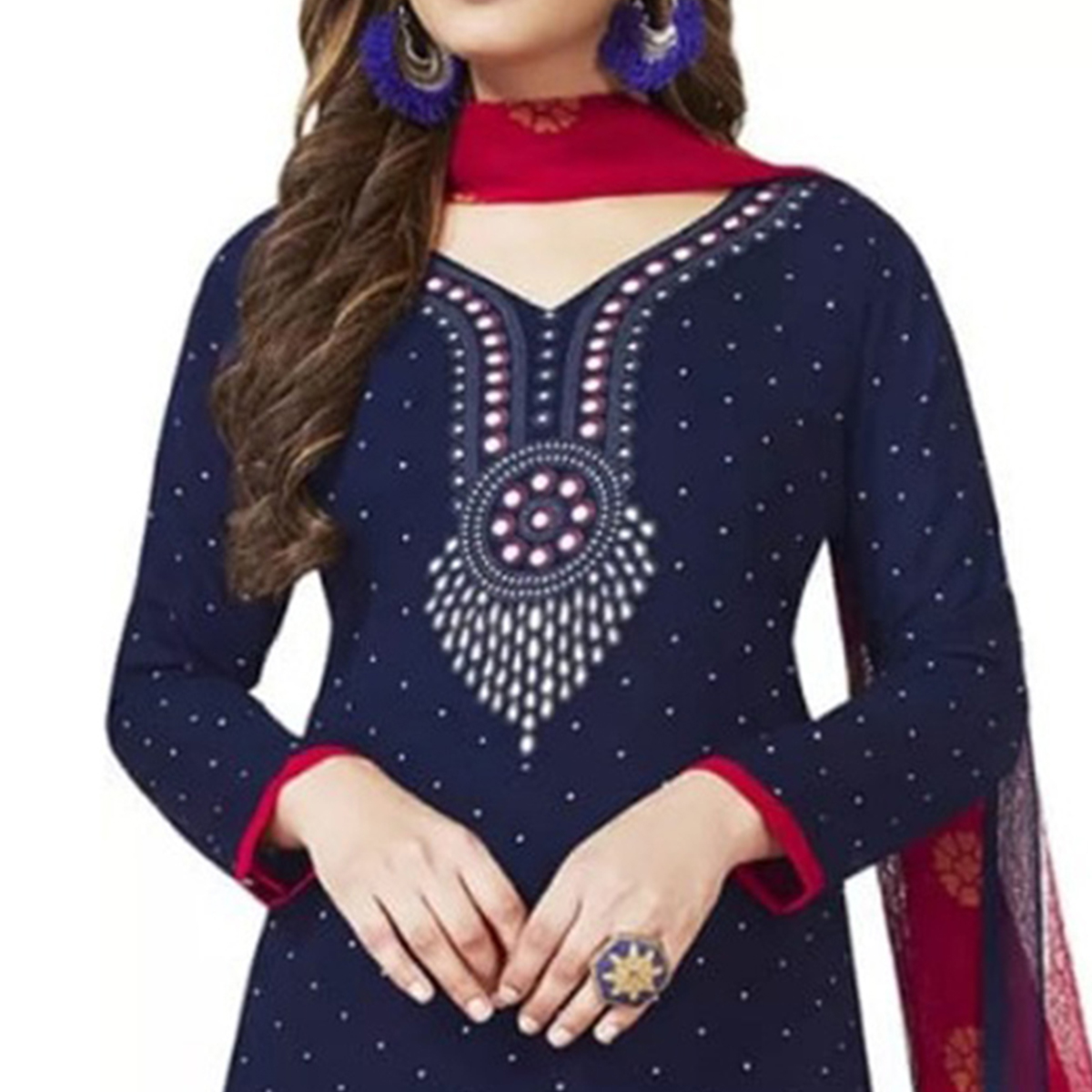 Pretty Navy Blue Colored Casual Printed Crepe Dress Material