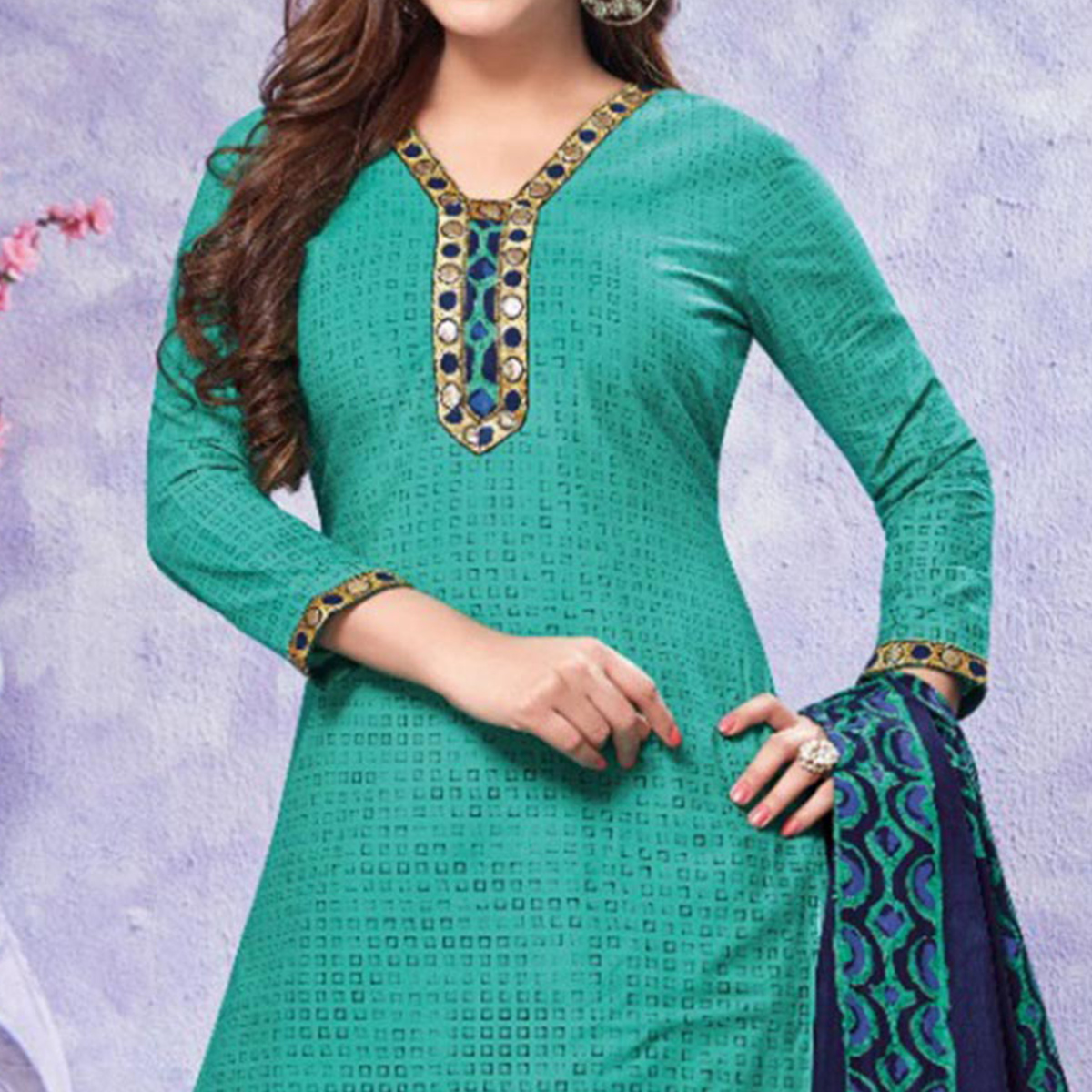 Appealing Turquoise Green Colored Casual Printed Crepe Dress Material