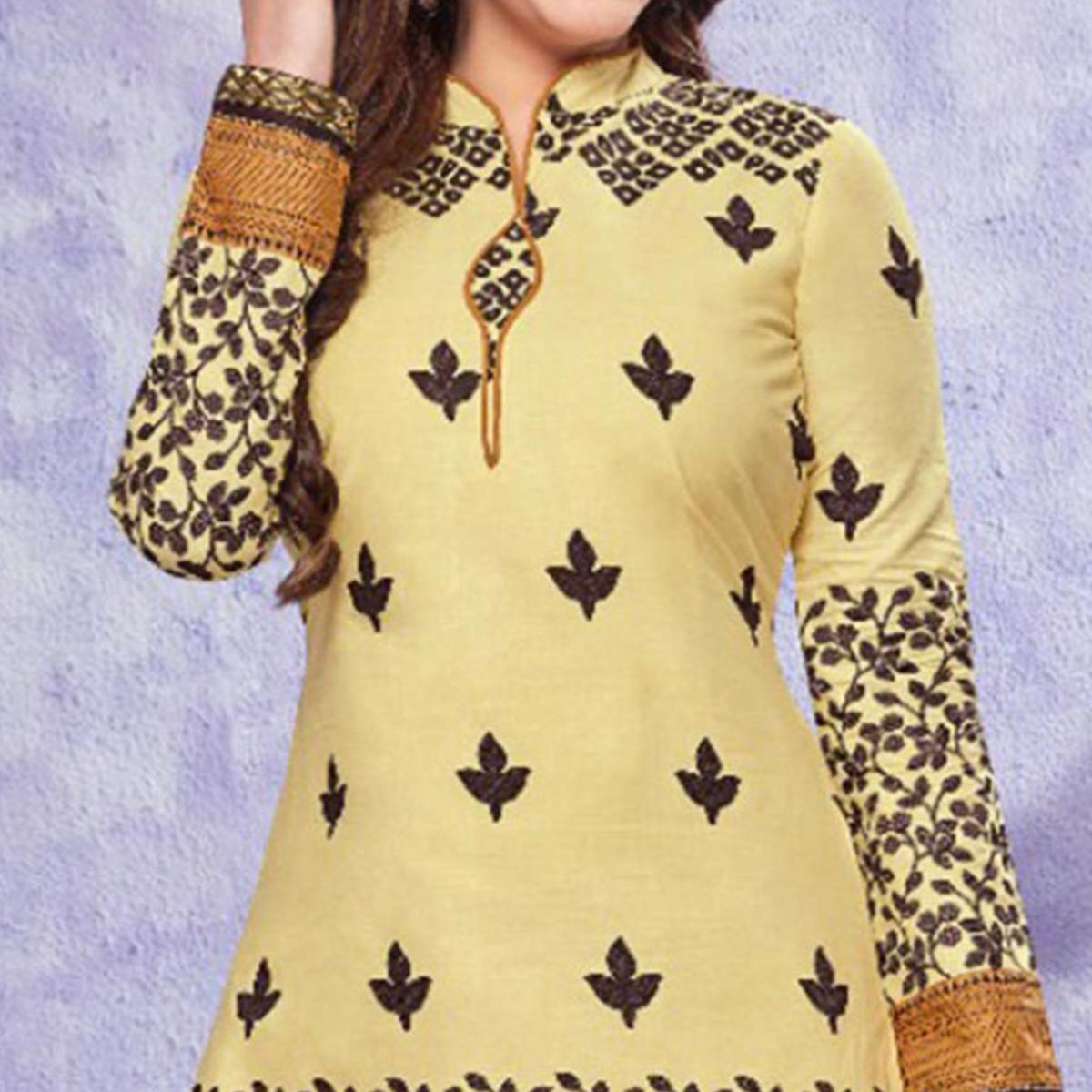 Beautiful Light Yellow Colored Casual Printed Crepe Dress Material