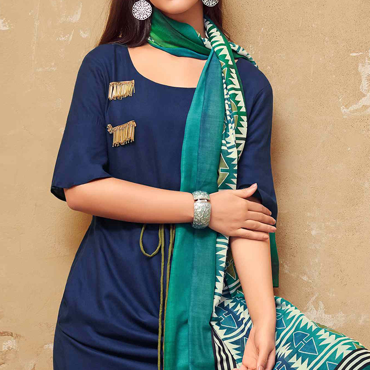 Stylish Dark Blue Colored Partywear Rayon Long Kurti