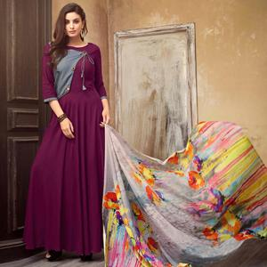 Amazing Wine Colored Partywear Rayon Long Kurti
