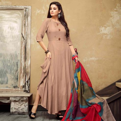Exceptional Light Brown Colored Partywear Rayon Long Kurti