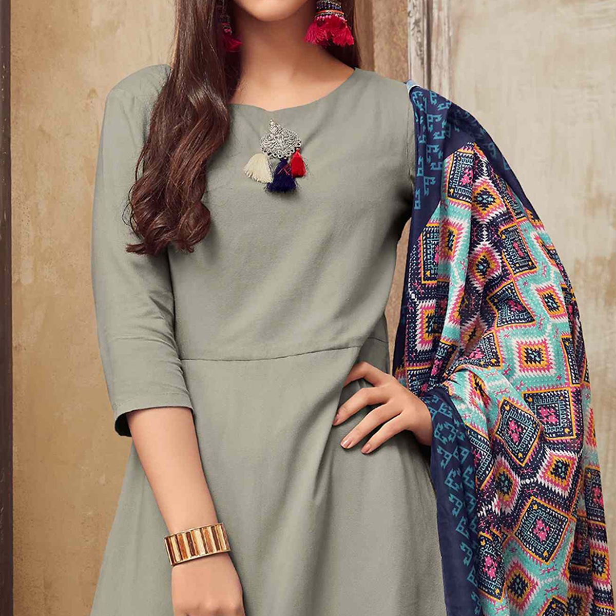 Groovy Gray Colored Partywear Rayon Long Kurti