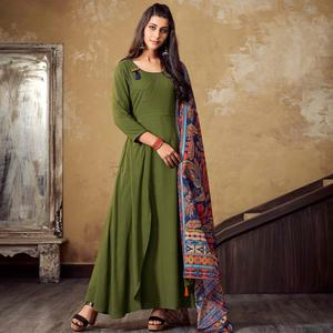 Gorgeous Green Olive Green Colored Partywear Rayon Long Kurti