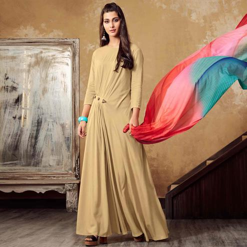 Attractive Cream Colored Partywear Rayon Long Kurti