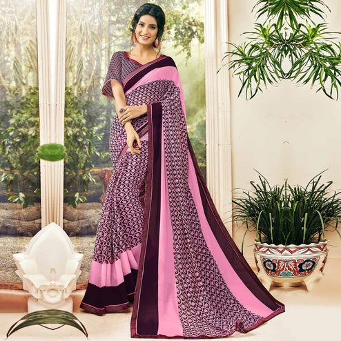 Unique Pink & Purple Colored Casual Wear Printed Georgette Saree