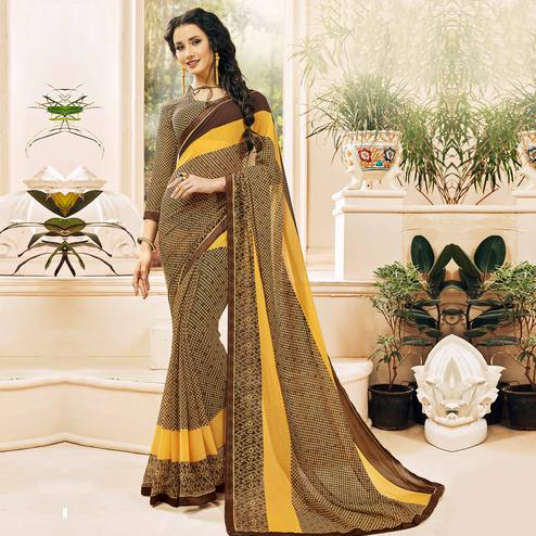 Alluring Yellow & Brown Colored Casual Wear Printed Georgette Saree