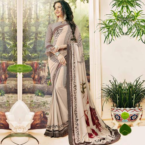 Radiant Dusty Cream Colored Casual Wear Printed Georgette Saree