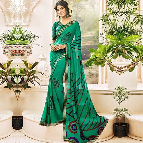 Sensational Green Colored Casual Wear Printed Georgette Saree
