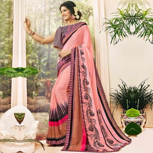 Opulent Light Pink Colored Casual Wear Printed Georgette Saree